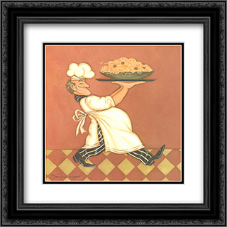 Pasta Chef 2x Matted 14x14 Black Ornate Framed Art Print by Stephanie Marrott