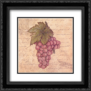 Grapes II 2x Matted 12x12 Black Ornate Framed Art Print by Stephanie Marrott