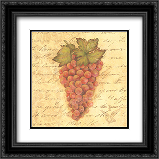Grapes III 2x Matted 12x12 Black Ornate Framed Art Print by Stephanie Marrott
