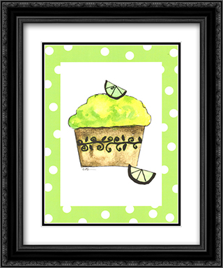 Key Lime Cupcake 2x Matted 15x18 Black Ornate Framed Art Print by Serena Bowman
