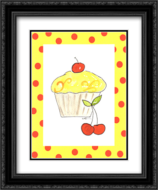 Lemon Cupcake 2x Matted 15x18 Black Ornate Framed Art Print by Serena Bowman