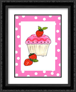 Strawberry Cupcake 2x Matted 15x18 Black Ornate Framed Art Print by Serena Bowman