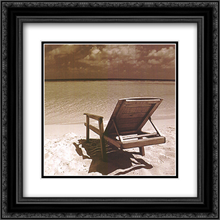 Beach Chair 2x Matted 10x10 Black Ornate Framed Art Print by Stephen Mitchell