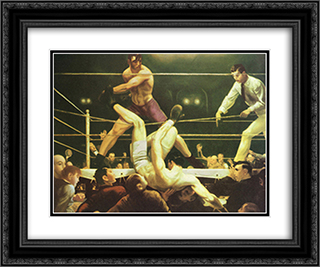 Jack Dempsey And Firpo 2x Matted 18x15 Black Ornate Framed Art Print by George Wesley Bellows