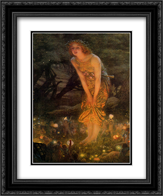 Midsummer Eve, c.1908 2x Matted 15x18 Black Ornate Framed Art Print by Edward Robert Hughes