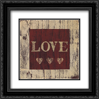 Love 2x Matted 14x14 Black Ornate Framed Art Print by Warren Kimble