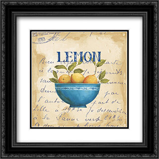 Zest of Lemons 2x Matted 13x13 Black Ornate Framed Art Print by Daphne Brissonnet