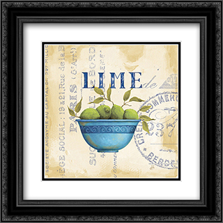Zest of Limes 2x Matted 13x13 Black Ornate Framed Art Print by Daphne Brissonnet