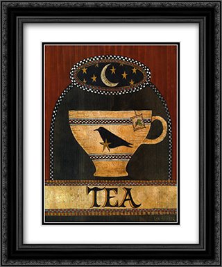 Cup of Tea 2x Matted 15x18 Black Ornate Framed Art Print by Lisa Hilliker