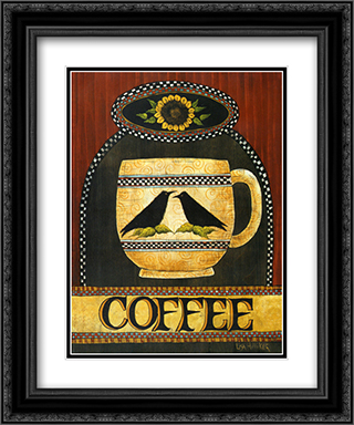 Cup of Coffee 2x Matted 15x18 Black Ornate Framed Art Print by Lisa Hilliker