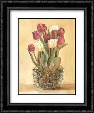 Potted Tulips 2x Matted 15x18 Black Ornate Framed Art Print by Marilyn Hageman