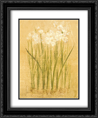 Narcissus 2x Matted 15x18 Black Ornate Framed Art Print by Cheri Blum
