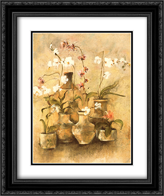 Arrangement of Orchids I 2x Matted 15x18 Black Ornate Framed Art Print by Cheri Blum