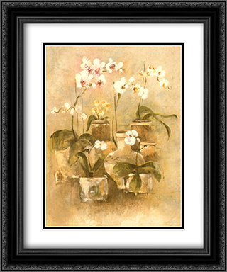 Arrangement Of Orchids II 2x Matted 15x18 Black Ornate Framed Art Print by Cheri Blum