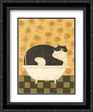 Cat in Hot Tin Tub 2x Matted 12x14 Black Ornate Framed Art Print by Warren Kimble