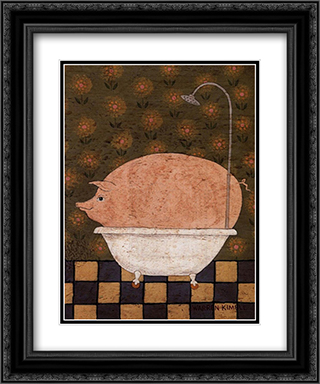 Hog Wash 2x Matted 12x14 Black or Gold Ornate Framed Art Print by Warren Kimble