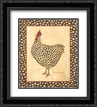 Spotted Chicken 2x Matted 12x14 Black Ornate Framed Art Print by Warren Kimble