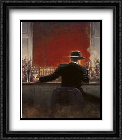 Cigar Bar 2x Matted 28x32 Extra Large Black Ornate Framed Art Print by Lynch, Brent