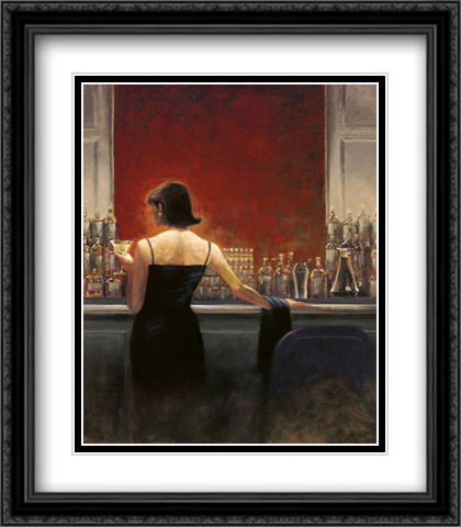 Evening Lounge 2x Matted 28x32 Extra Large Black Ornate Framed Art Print by Lynch, Brent