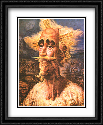 Visions of Quixote 2x Matted 28x34 Extra Large Black Ornate Framed Art Print by Ocampo, Octavio