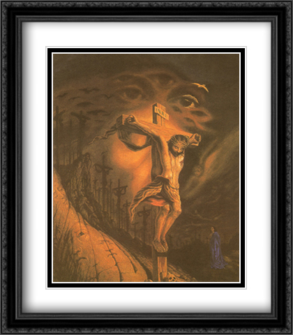 Calvary 2x Matted 28x32 Extra Large Black Ornate Framed Art Print by Ocampo, Octavio
