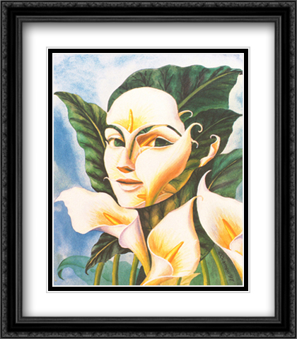Lady in Field of Lilies 2x Matted 28x32 Extra Large Black Ornate Framed Art Print by Ocampo, Octavio