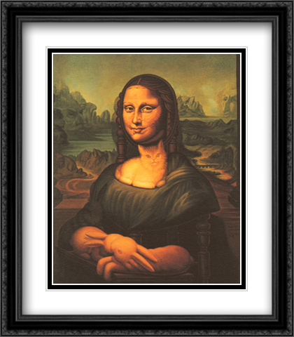 Mona Lisa's Chair 2x Matted 28x32 Extra Large Black Ornate Framed Art Print by Ocampo, Octavio