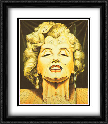 Marilyn in the Mirror 2x Matted 28x32 Extra Large Black Ornate Framed Art Print by Ocampo, Octavio