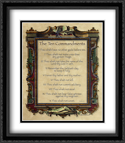 Ten Commandments 2x Matted 28x32 Extra Large Black Ornate Framed Art Print