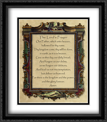Lord's Prayer 2x Matted 28x32 Extra Large Black Ornate Framed Art Print