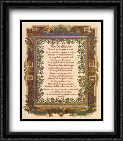 Beatitudes 2x Matted 28x32 Extra Large Black Ornate Framed Art Print