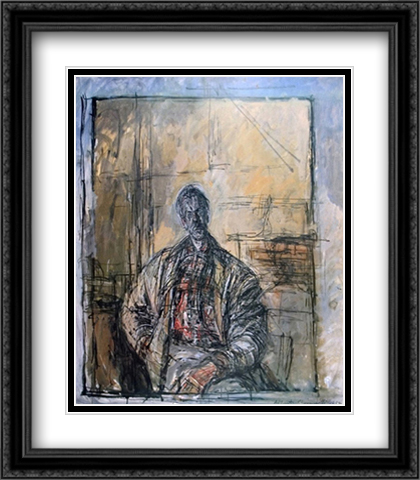 Diego a la Chemise Ecossaise 2x Matted 28x40 Extra Large Black Ornate Framed Art Print by Alberto Giacometti