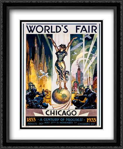 Chicago World's Fair 1933 2x Matted 28x36 Extra Large Black Ornate Framed Art Print