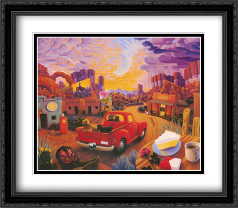 Sunset Ride 2x Matted 32x28 Extra Large Black Ornate Framed Art Print by Stephen Morath