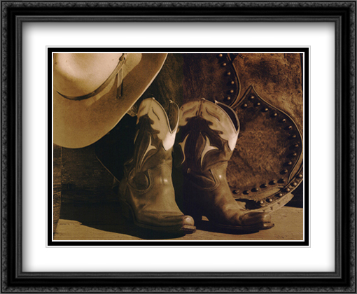 End of the Day 2x Matted 34x28 Extra Large Black Ornate Framed Art Print by Robert Dawson