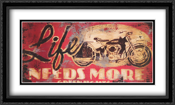 Life Needs More Green Lights 2x Matted 40x20 Extra Large Black Ornate Framed Art Print by Rodney White