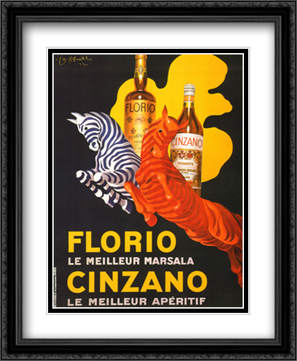 Florio e Cinzano, 1930 2x Matted 28x34 Extra Large Black Ornate Framed Art Print by Cappiello, Leonetto