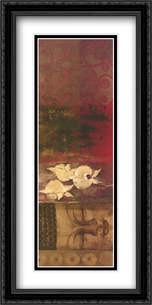 Buddha Orchid 2x Matted 40x16 Extra Large Black Ornate Framed Art Print by Liz Jardine