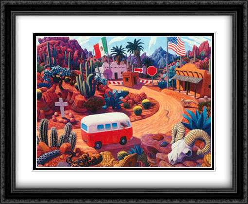 Gringo Pass 2x Matted 31x28 Extra Large Black Ornate Framed Art Print by Stephen Morath
