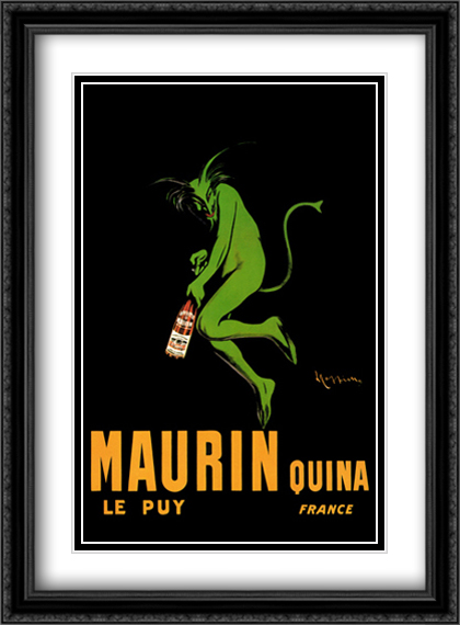 Maurin Quina 2x Matted 28x40 Extra Large Black Ornate Framed Art Print by Leonetto Cappiello