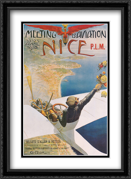 Meeting d'Aviation Nice 2x Matted 28x40 Extra Large Black Ornate Framed Art Print