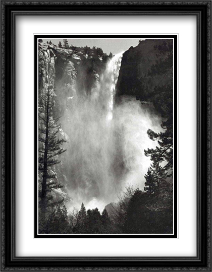 Bridal Veil Falls 2x Matted 28x40 Extra Large Black Ornate Framed Art Print by Ansel Adams