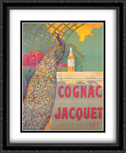 Cognac Jacquet 2x Matted 28x40 Extra Large Black Ornate Framed Art Print by Leonetto Cappiello