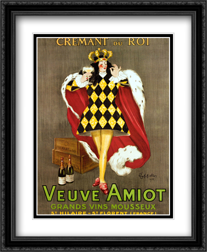 Veuve Amiot 2x Matted 28x34 Extra Large Black Ornate Framed Art Print by Cappiello, Leonetto