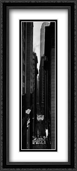 Exchange Place (N.Y.P.L.) 2x Matted 15x44 Extra Large Black Ornate Framed Art Print by Berenice Abbott