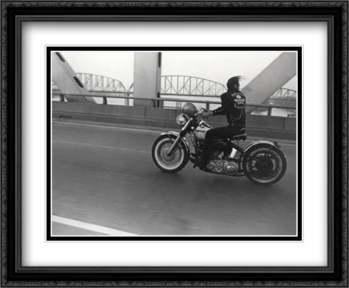 Crossing the Ohio River 2x Matted 34x24 Extra Large Black Ornate Framed Art Print by Danny Lyon