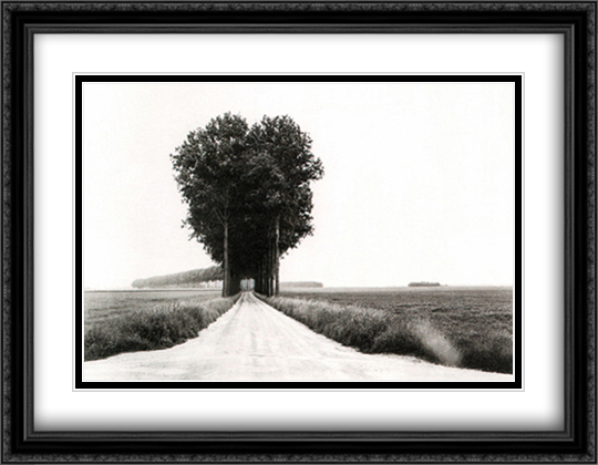 En Brie 2x Matted 40x28 Extra Large Black Ornate Framed Art Print by Henri Cartier Bresson