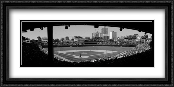 Wrigley Field 2x Matted 40x16 Extra Large Black Ornate Framed Art Print by Joseph Sohm