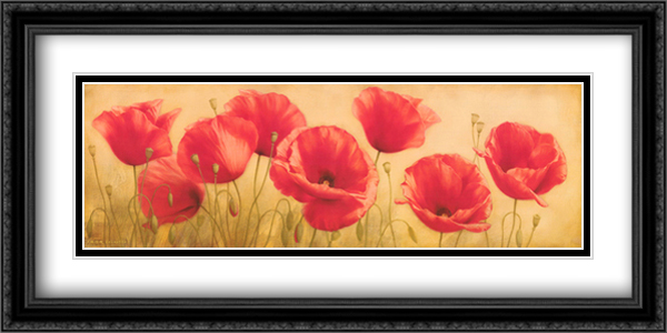 Poppies Grace I 2x Matted 40x16 Extra Large Black Ornate Framed Art Print by Igor Levashov
