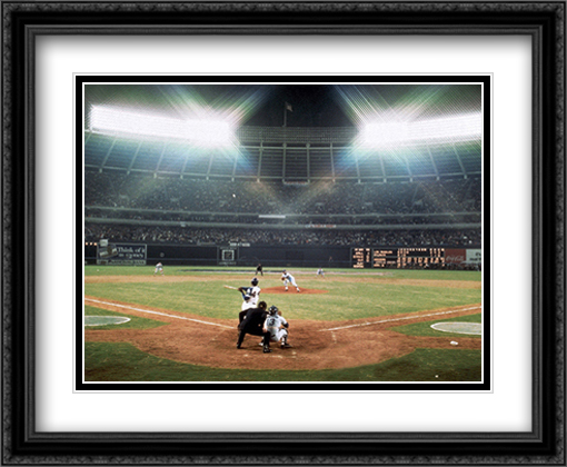 Hank Aaron 715th Home Run 2x Matted 34x28 Extra Large Black Ornate Framed Art Print